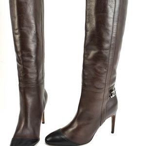"CHANEL: Dark Brown Leather & ""CC"" Logo, Tall Boots"